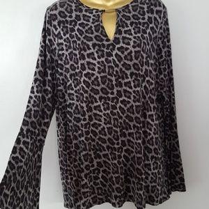 Michael kors leopard long sleeve bell top Large